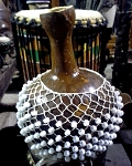 Chekere/Shekere with White Beads (medium) 12