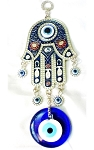 Blue Evil Eye and Hamsa Hand Wall Hanging Amulet