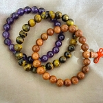 Natural Stones Bracelets-Tigers Eye, Amethyst, Rose Quartz