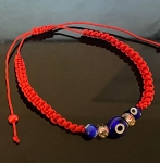 Triple Evil Eye Bracelet Red String/Pulsera Contra Mal de Ojo Hilo Rojo Adjustable