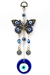 Blue Evil Eye and Hamsa Butterfly Wall Hanging Amulet