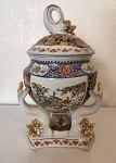 3 Fish Ceramic Pot Asian Print/Potiche 3 Pescados Satsuma 16