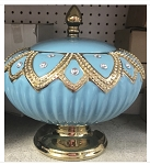 Round Diamond Style Pot in Light Blue/Sopera Redonda Yemaya Asesu