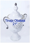 White Peacock Design Pot for Obatala/Tinaja Detalle Pavo Real Obatala 21