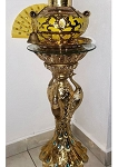 Pedestal Pavo Real/Peacock Style Golden Painted Stand Glass Top 32