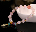 Faceted Rose Quartz & Amber Leaf Beaded Elastic Bracelet