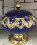 Round Diamond Style Pot in Blue/Sopera Redonda Yemaya