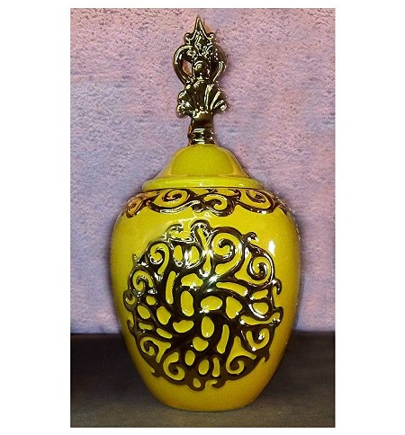 Oshun Ginger Jar in Yellow & Gold /Tinaja Amarilla Ochun 14""