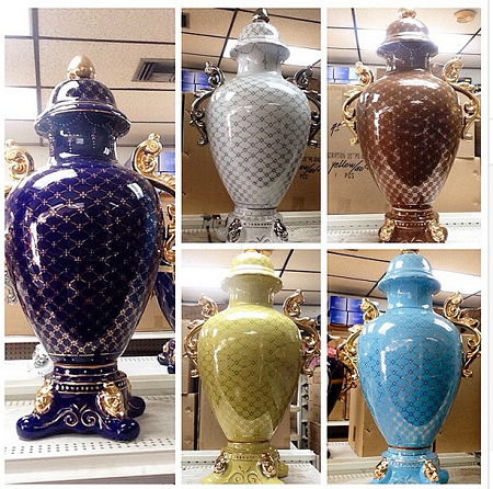 "Star Design Porcelain Trophy Urn 28"" Various Colors"